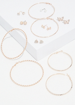9-Pack Rose Gold Butterfly Earring Set