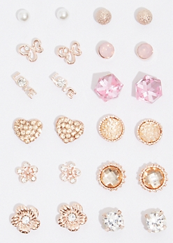 12-Pack Rose Gold Pink Cube Earring Set