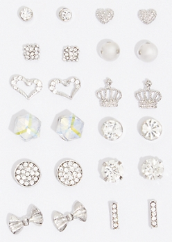 12-Pack Silver Crown Earring Set