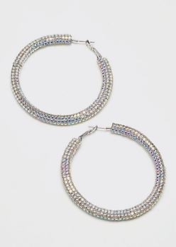 Silver Iridescent Rhinestone Hoop Earrings