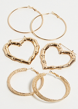 3-Pack Gold Bamboo Heart Hoop Earring Set