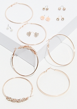 9-Pack Rose Gold Cluster Hoop and Stud Earring Set