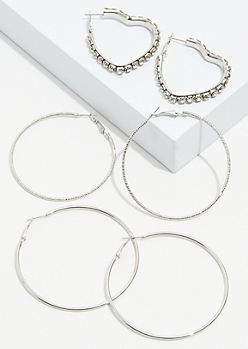 3-Pack Silver Gem Heart Hoop Earring Set
