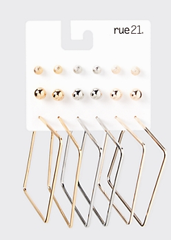 12-Pack Mixed Metal Square Hoop Earring Set