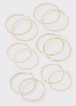 8-Pack Gold Braided Hoop Earrings