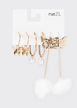 3-Pack Gold Butterfly Charm Earrings