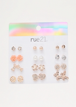 12-Pack Rose Gold Butterfly Stud Earring Set