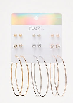 9-Pack Mixed Metal Sleek Earring Set