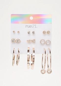 9-Pack Rose Gold Hoop Charm Earring Set