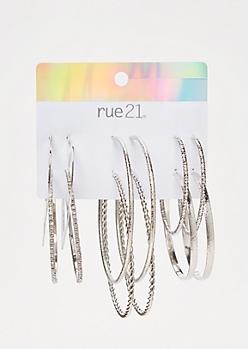 6-Pack Silver Braided Hoop Earring Set