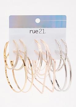 6-Pack Mixed Metal Glitter Hoop Earring Set