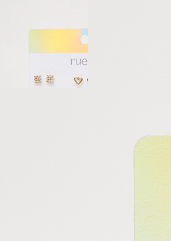 9-Pack Gold Braided Earring Set