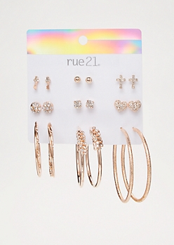 9-Pack Rose Gold Gem Heart Earring Set