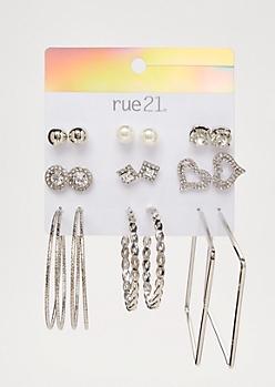 9-Pack Silver Pearl Heart Earring Set