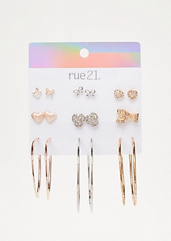 9-Pack Mixed Metal Bow Earring Set