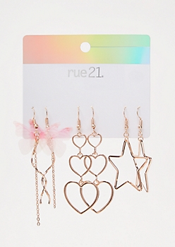 3-Pack Rose Gold Star Drop Earring Set