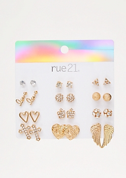 12-Pack Gold Wing Stud Earring Set
