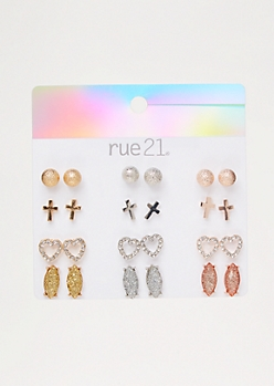 12-Pack Mixed Metal Cross Stud Earring Set