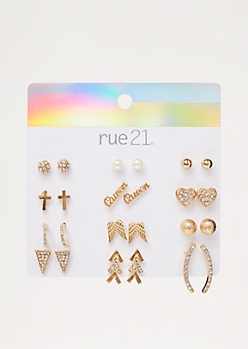 12-Pack Gold Queen Stud Earring Set