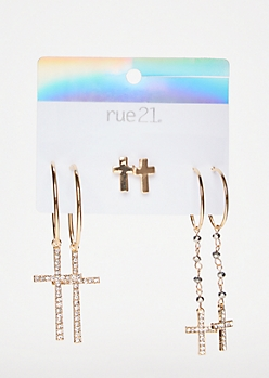 3-Pack Gold Cross Earring Set