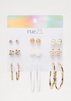9-Pack White Rose Hoop Earring Set