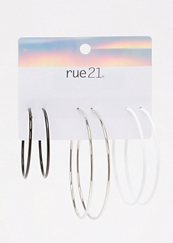 3-Pack Black And White Hoop Earring Set