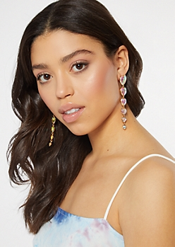 Golden Heart Drop Earrings