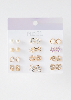 12-Pack Gold I Love Me Stud Earring Set