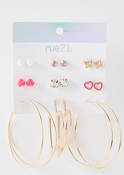 9-Pack Gold Pink Butterfly Earring Set