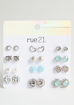 12-Pack Silver Teal Flower Stud Earring Set