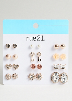 12-Pack Rose Gold Key Stud Earring Set
