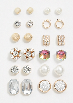 12-Pack Gold Cluster Stud Earring Set