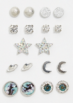 9-Pack Silver Galaxy Stud Earring Set