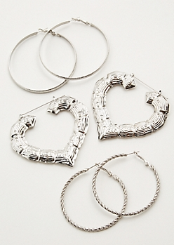 3-Pack Silver Bamboo Heart Hoop Earring Set