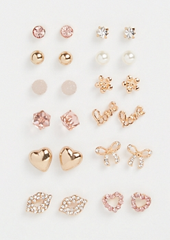 12-Pack Gold Gemstone Love Stud Earring Set