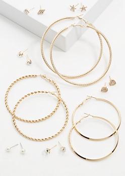 9-Pack Gold Star Heart Earring Set