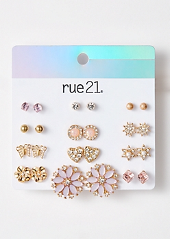 12-Pack Gold Lilac Flower Stud Earring Set