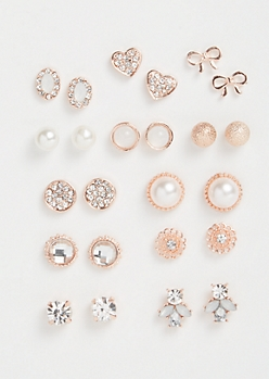 12-Pack Rose Gold Pearl Bow Stud Earring Set