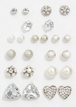 12-Pack Silver Pearl Heart Stud Earring Set