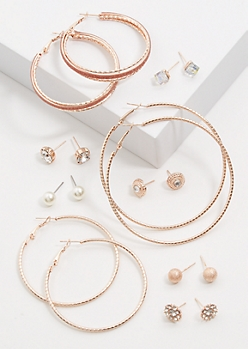 9-Pack Rose Gold Pearl Accent Earring Set