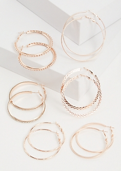 6-Pack Rose Gold Hammered Hoop Earring Set