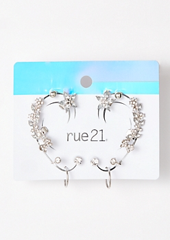9-Pack Silver Leaf Ear Crawler Stud Set