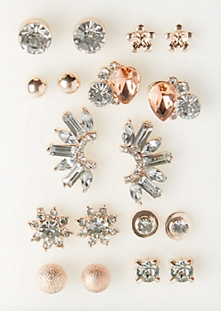 9-Pack Rose Gold Stone & Crawler Stud Earring Set
