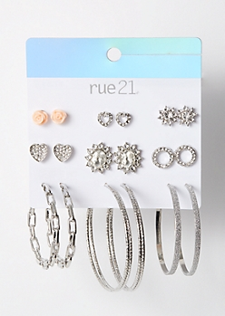 9-Pack Silver Chain Hoop Rose Earring Set