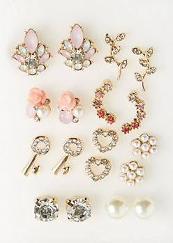 9-Pack Gold Stone, Key & Flower Stud Earring Set