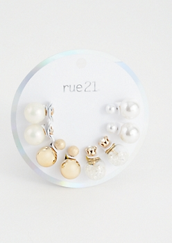 4-Pack Pearl Double Stud Earring Set