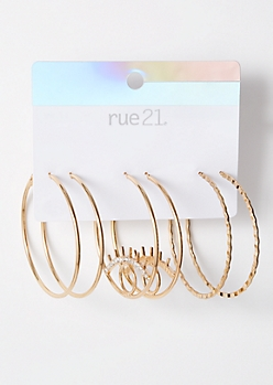 3-Pack Gold Eye Hoop Earring Set