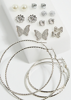 9-Pack Silver Butterfly & Bow Studs & Hoop Earrings