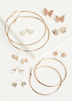 9-Pack Rose Gold Butterfly Stud and Hoop Earring Set