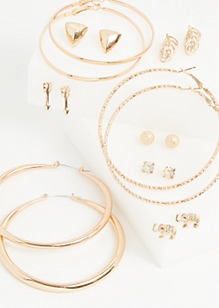 9-Pack Rose Gold Elephant & Arrow Studs & Hoop Earrings
